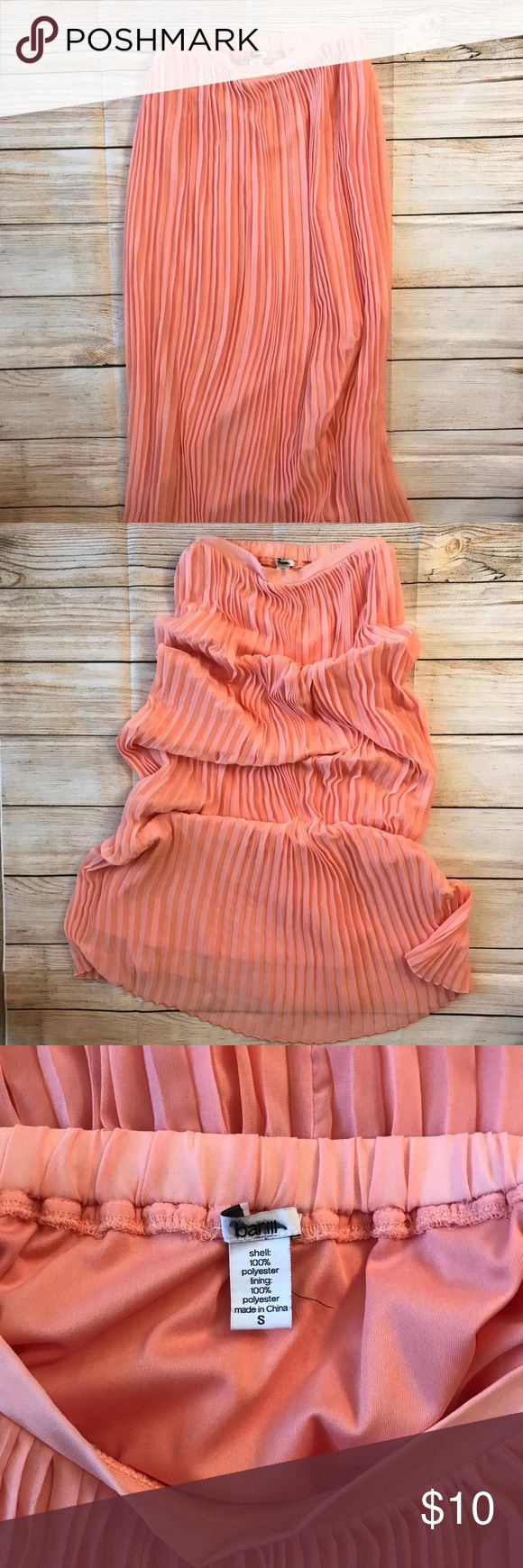 """Bar III 3 Pink Long Pleated Skirt Size Small Long Pleated Skirt in good condition.  Couple snags but barely noticeable. Elastic waistband. Measurements approx Waistband (laid flat, un-stretched, across) 12 1/2"""" Length 39 1/2""""  From a smoke-free home  OBO  (120) Bar III Skirts Maxi"""