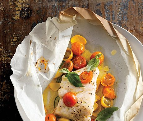 Fish Fillets with Tomatoes, Squash, and Basil Recipe | Epicurious.com
