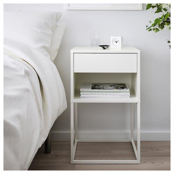 Vikhammer Bedside Table White 40x39 Cm Mit Bildern