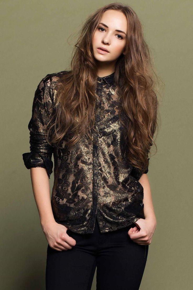 Siyah Kadın Polo Yaka Dantel Bluz 646032 | DeFacto