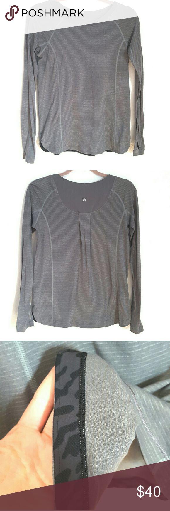 Lululemon Grey Long Sleeve Top EUC. Lululemon grey long sleeve top. Size tag is cutout, but it's a size 6. lululemon athletica Tops Tees - Long Sleeve