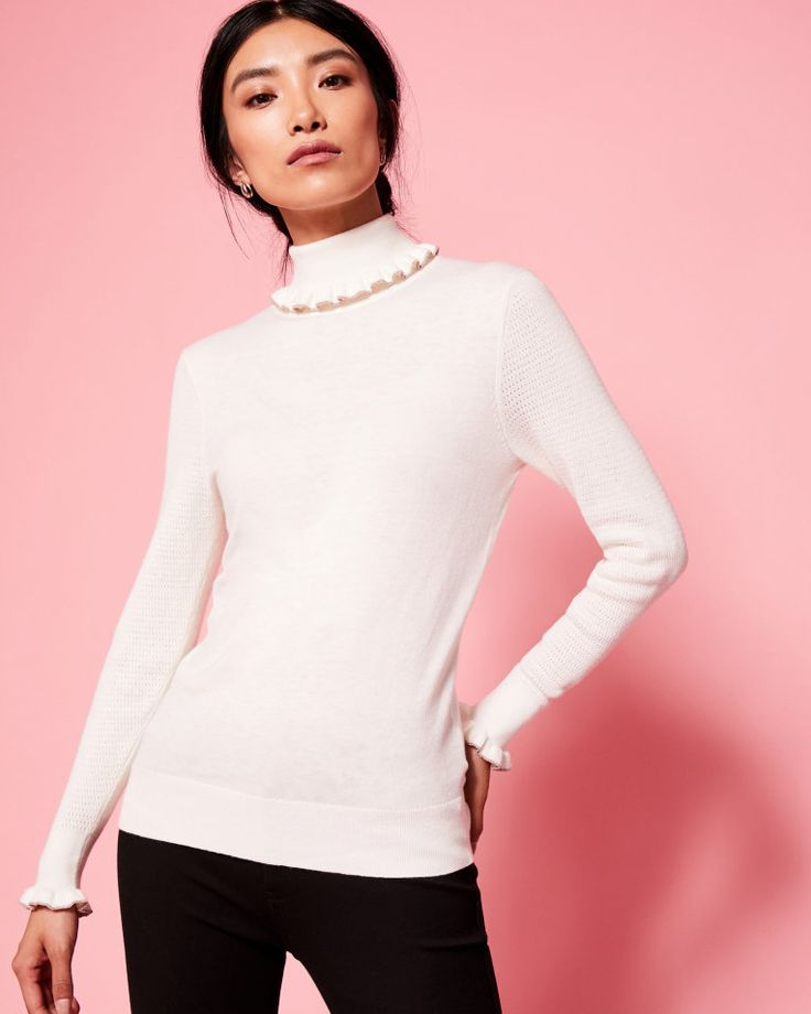 Frilled cotton and silk-blend roll neck jumper - Ivory | Knitwear | Ted Baker ROW