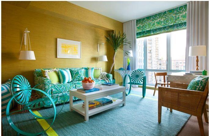 Mavi yeşil karışımı oturma odası