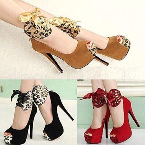 Moda-Mulheres-os saltos altos-Leopardo-Plataforma-Estiletes-Peep-toe-sapatos-de-cinta-de-tornozelo