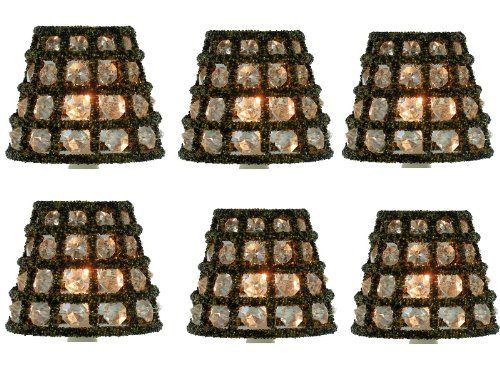 set of six crystal chandelier lamp shade mini clip on shade candle cover gold by