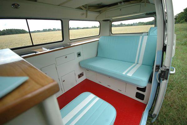 sky blue and white stripes vw campervan interior colour scheme