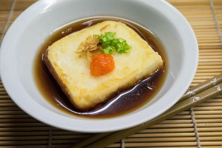 Receta de tofu frito o agedashidofu (揚げ出し豆腐) paso a paso, con fotografías, calculador de medidas e instrucciones paso a paso.