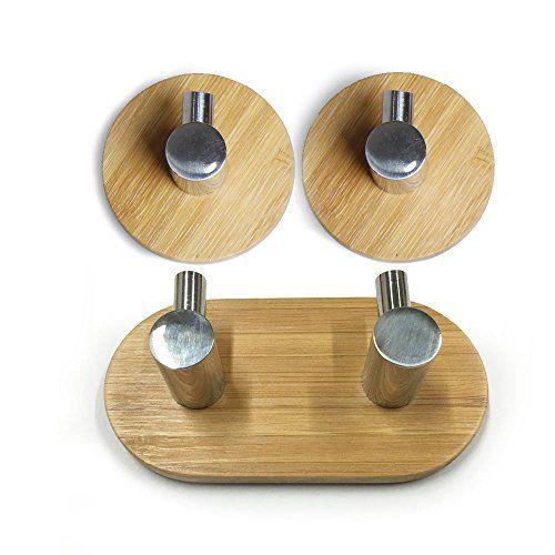 CoCo 3 Stück Adhesive Haken mit 3M Haftmittel bis zu 3 Kg Tragkraft, aus SUS304 Edelstahl und Bambus für Badezimmer Handtuchhaken, Wandhaken Kleiderbügel für Home Küche Mäntel Hüte Schlüssel (2+1)