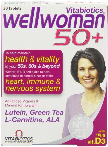 "Vitabiotics Wellwoman 50+ 30 Tablets. List Price:£9.15; PRICE:  £6.79 (FREE Delivery). You SAVE £2.36 (26%); INTELLIGENT nutrition for women 50+   including: Heart & Circulation; Active lifestyle; Brain; Eyes & Vision; ESSENTIAL micronutrient supplementation; IDEAL one-a-day support.  ""GOOD Vitamins"" – By No Ma via: http://www.sd4shila.net/uk-visitors OR http://sd4shila.creativesolutionstore.com/inter-links.html  OR http://sd4shila.creativesolutionstore.com OR http://www.sd4shila.net"