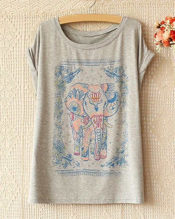 Wholesale National Style Elephant Pattern Short Sleeve T-Shirt For Women (WHITE,ONE SIZE), Women's T-shirts - Rosewholesale.com
