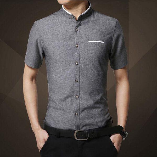 Moda para hombre delgado del collar soporte del color sólido del verano de gran tamaño más la manga corta camisa de vestir de negocios en Banggood