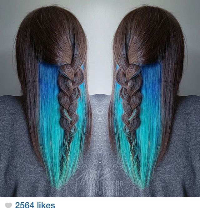 Teal/turquoise waterfall mermaid peekaboo hair color