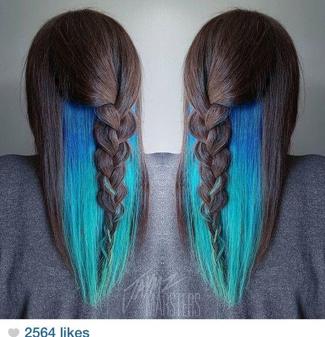 Teal/turquoise waterfall mermaid peekaboo hair color
