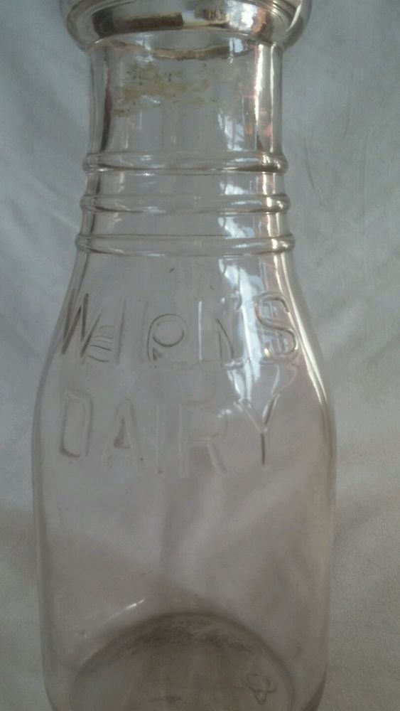 Milk Bottle Glass Bottle Willis Dairy One Pint 7 Inches