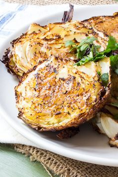 Garlicky roasted cabbage steaks with a hint of fennel.