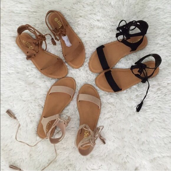 NUDE Lace up fringe tassel sandals💕 LAST ONE!  🌺Look on my page for the other colors. Perfect neutral sandals to throw on with every summer outfit🌻☀️. Pairs great with rompers, shorts, dresses, or jeans. *P R I C E  I S F I R M* Fits true to size. New with box.  Limited availability. To buy: click buy ➡️choose your size. Thanks for looking!💕 THIS LISTING IS FOR NUDE Shoes Sandals