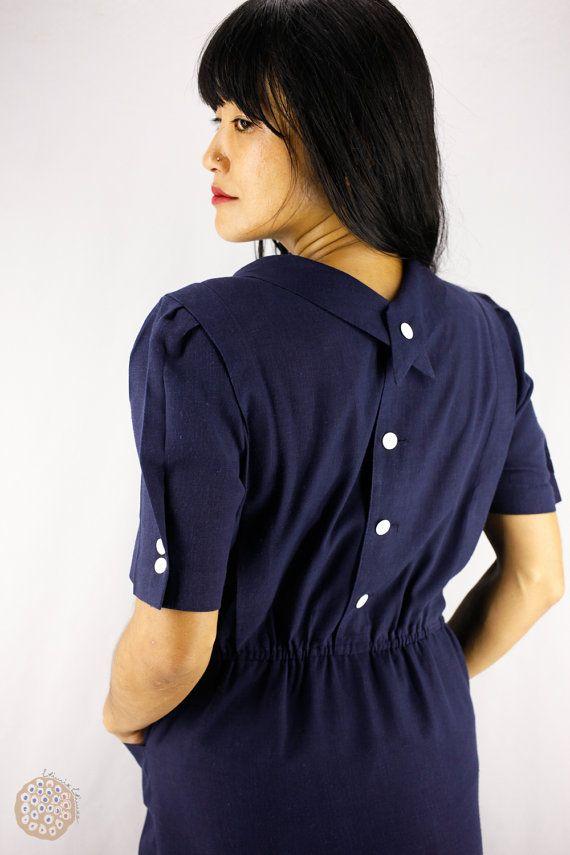 80s Japanese Navy Button Back Secretary Dress, Short Sleeve Hemp Mix Avant Garde Dress, Spring Summer Nautical Party Dress, Pockets S - M