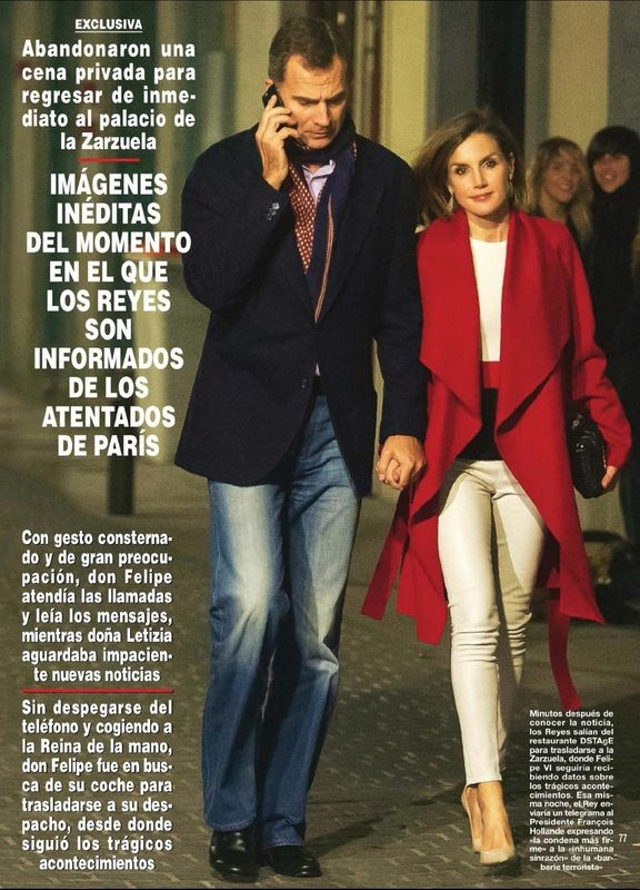 ¡HOLA! ~ King Felipe & Queen Letizia leave a dinner immediately after learning about the Paris bombings