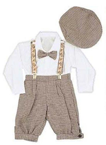 Infant Toddler Boys Vintage Style Knickers Outfit 5-pc with Suspenders, Bowtie Newsboy Cap (Infants 12 Months) - This 5-pc adorable little boy's knickers outfit with newsboy cap, embroidered suspenders and clip-on bowtie is too cute to pa
