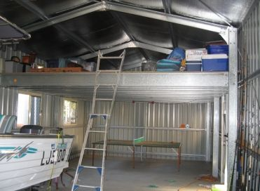 Internal shed with mezzanine floor shop pinterest for How to build a mezzanine floor in a garage