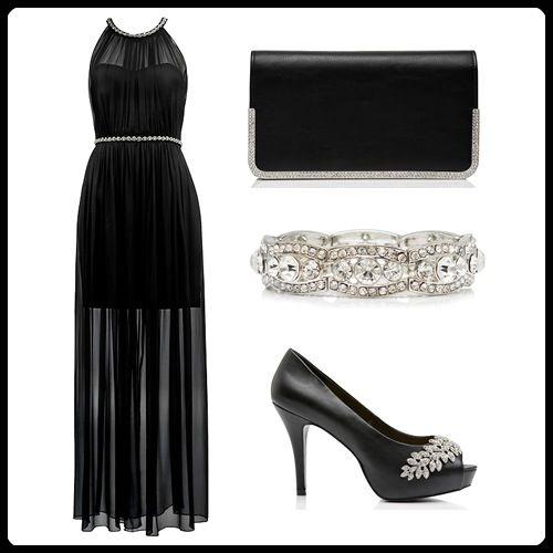 Işıltılı boyun ve bel süslemeleriyle dikkat çeken siyah ipek elbise, Forever New aksesuarlarıyla birlikte size hem zarif hem de şık bir hava katacak.