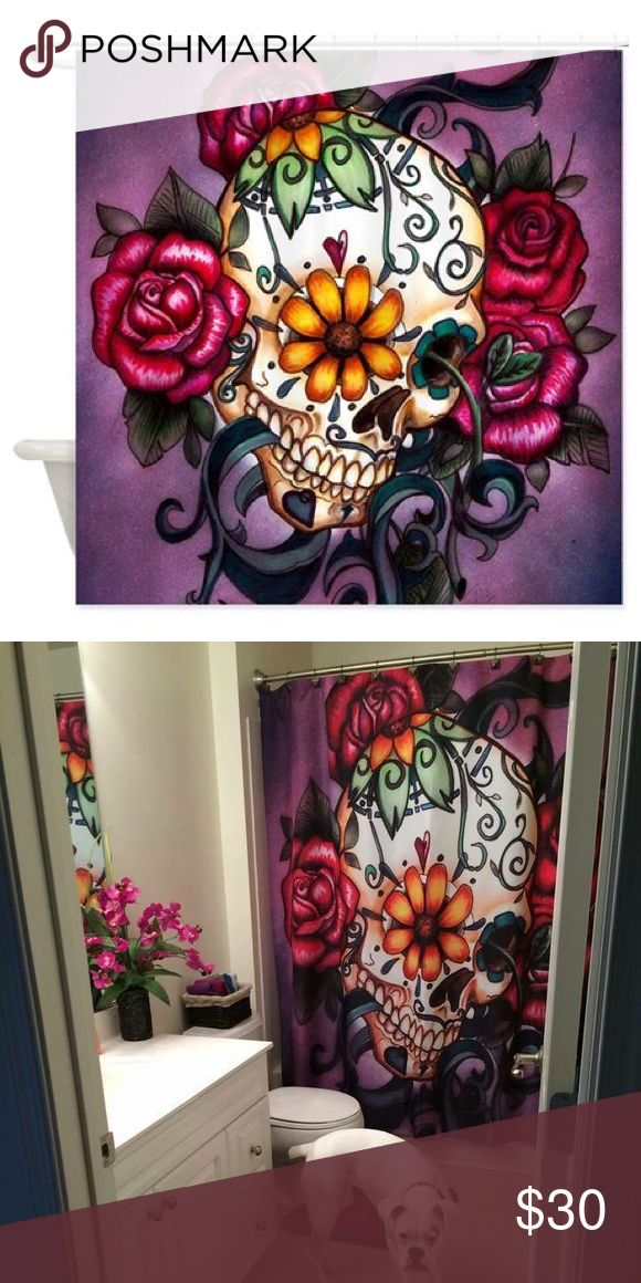 Sugar skull shower curtain Very colorful and pretty sugar skull cloth shower curtain Cafe Press Other