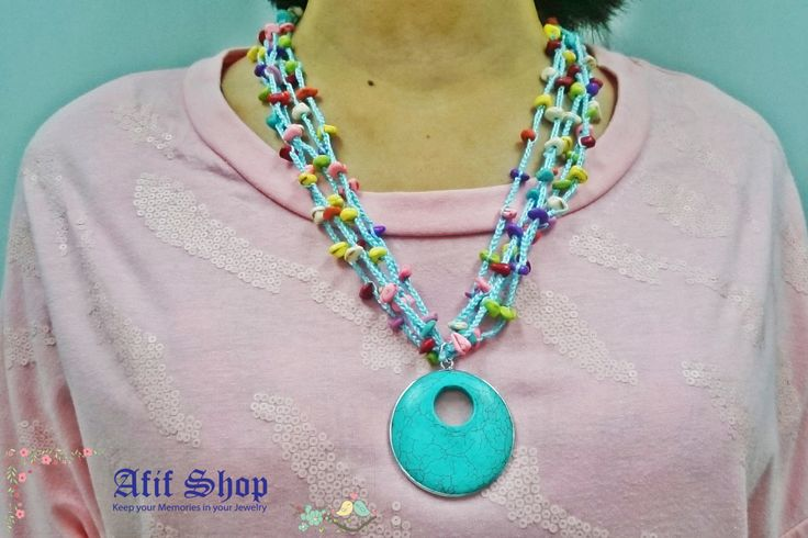 SUPER SALE /Turquoise Crochet Necklace /Colorful jewelry /Stones Jewelry /Ethnic necklace /Circle necklace /bohemian necklace /Gift for her by AfifShop on Etsy