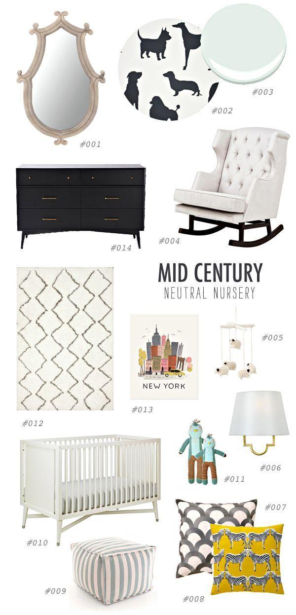 MCM nursery buying guide, http://ruffledblog.com/gender-neutral-nursery-inspiration #neutral #midcentury #nursery
