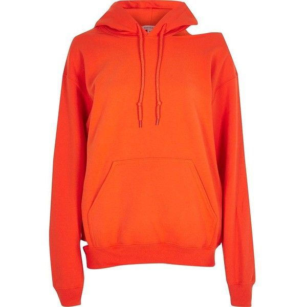 River Island Orange cut out hoodie (1.745 RUB) ❤ liked on Polyvore featuring tops, hoodies, orange, sale, women, kangaroo pocket hoodie, cut out long sleeve top, cut out top, long sleeve hoodies and orange hoodies