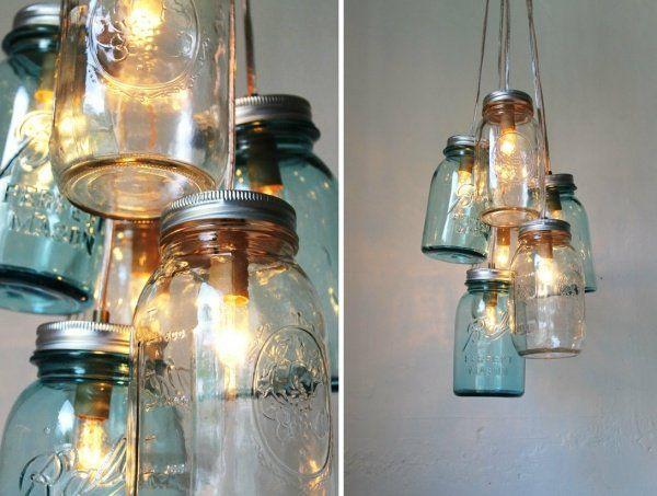de belles lanternes décoratives en pots de confiture