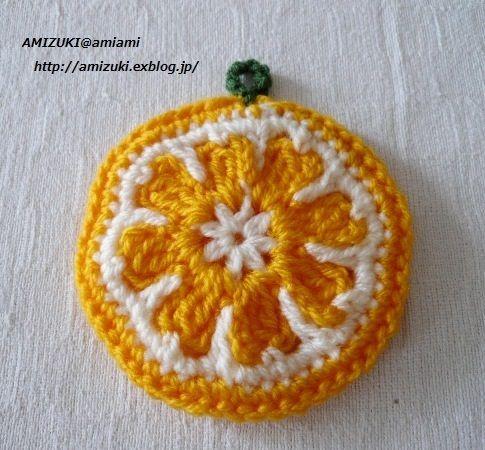 オレンジの輪切りを模ったエコたわしです(*^_^*) ※2013年8月投稿