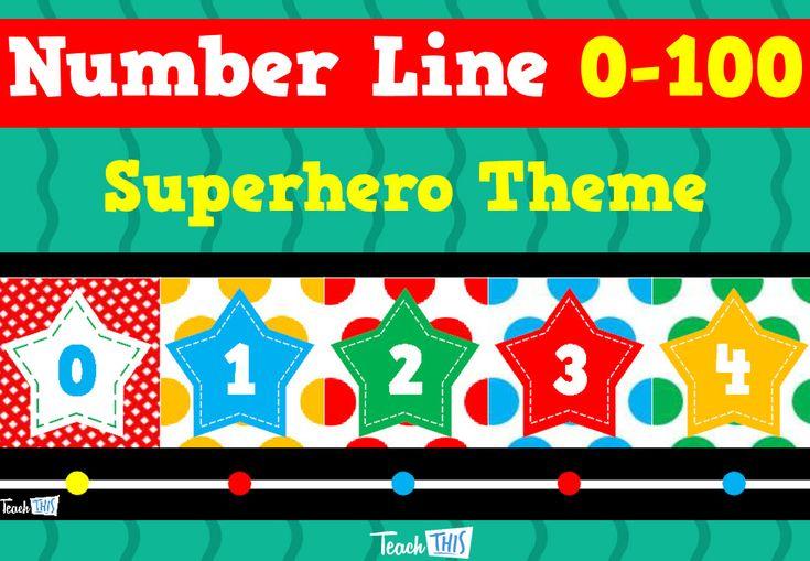 Number Line to 100 – Superhero Theme
