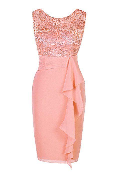 Ellames Women's Short Lace Bridesmaid Dress Formal Party Dress Coral US 10 at Amazon Women's Clothing store: