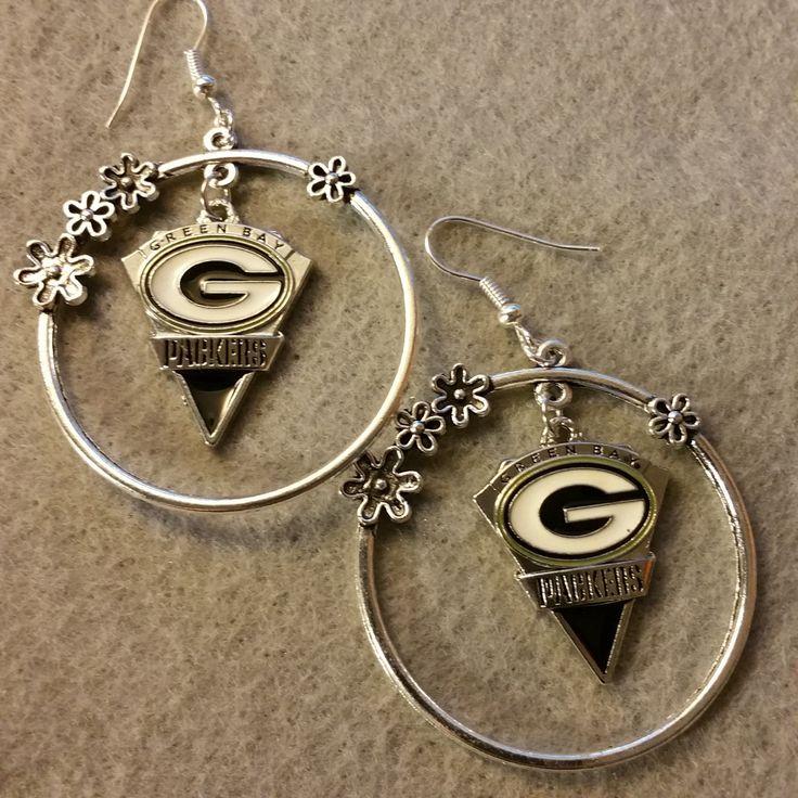 Green Bay Packers Hoop Earrings with Dangling Charm by DesignsByKehau on Etsy