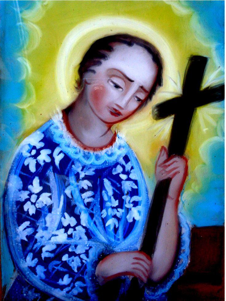 San Luigi Gonzaga (G) pittura su vetro cm 40x30