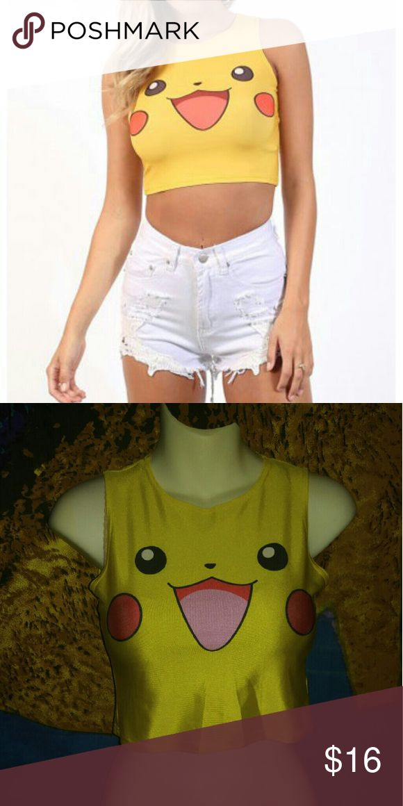 Pikachu crop top! Pokemon 🔥 Gotta catch em all! Only worn once. Soft stretchy material! Cheaper on Merc. Tops Crop Tops