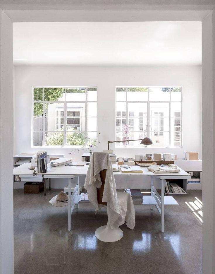 white & light home office