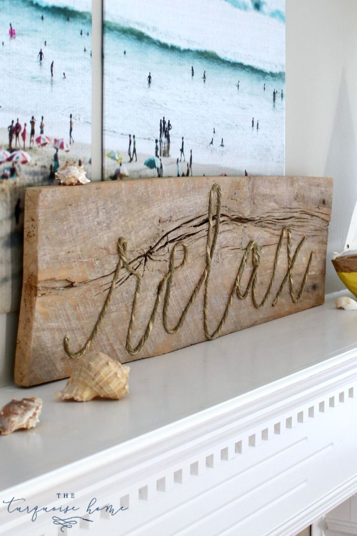 This sign is so cute, easy to make and perfect for your summer decor! | DIY Weathered Rope Sign