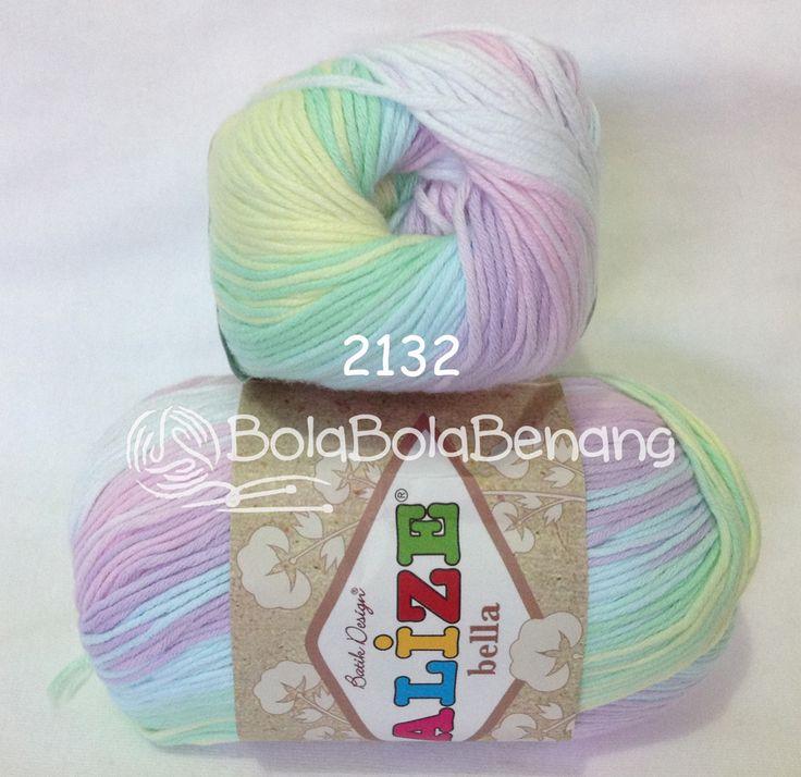 Alize Bella Batik 2132, Price: Rp.65.000,- /gulung, Bahan: 100% COTTON, Berat/Panjang: 50gram/180mt, Knitting Needles: 2mm - 4mm, Crochet Hook: 1mm - 3mm