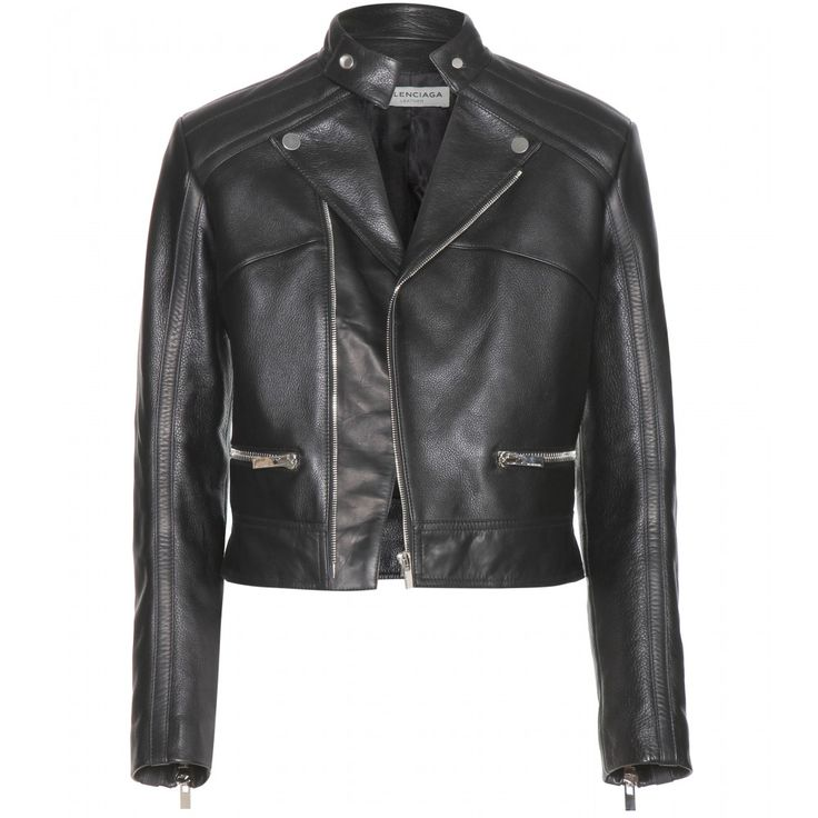 Balenciaga - Leather jacket - What woman doesn't love a Balenciaga leather jacket? Soft lamb leather adorns this biker style with silver-toned detailing for a tough edge. Slip it on during daytime over a tee and skinny jeans. seen @ www.mytheresa.com #covetme