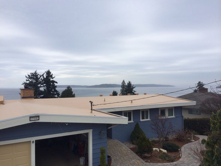 IB Roof System In Edmonds, WA. Shown In Tan Colored Membrane