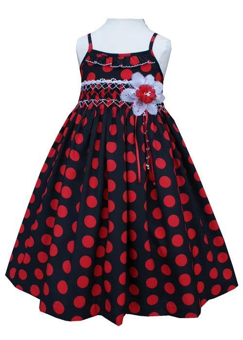 Girls Black and Red Polka Dot Vera Dress