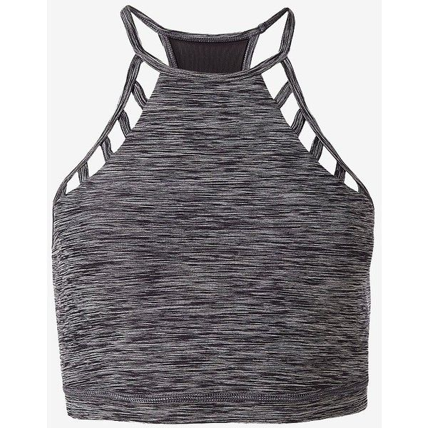 Express Marled Exp Core Lace-Up Sports Bra ($24) ❤ liked on Polyvore featuring activewear, sports bras, grey, tops, yoga sports bra, grey sports bra, racerback sports bra, racer back sports bra and yoga activewear