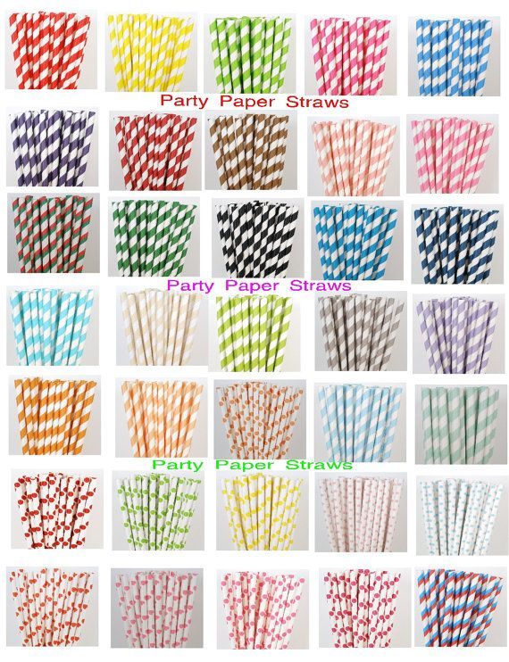 SALE 100 Pick Your Colors Paper Straws DIY by PartyPaperStraws