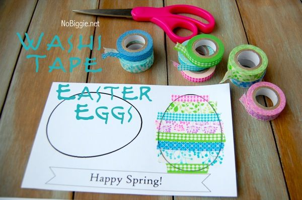 washi tape easter craft with easter egg printable