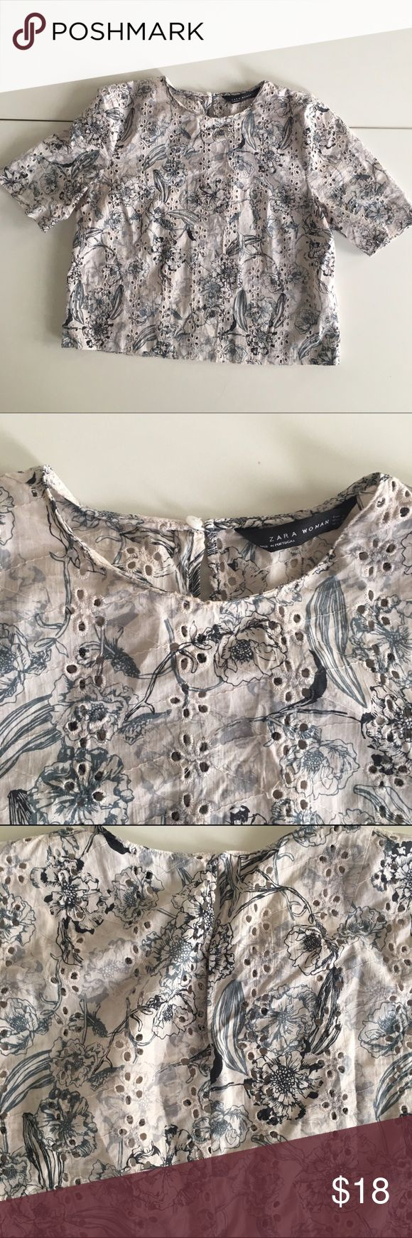 Zara woman eyelet embroidered floral top A beautiful embroidered top that will be perfect for spring days with a light jacket. Button hole at back. 100% cotton. Zara Tops Blouses