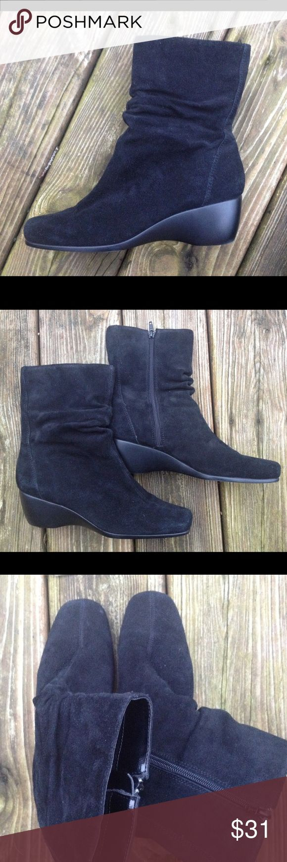 BEAR TRAPS Suede Black Zip Ankle Boots Shoes 8 Ok. I'm extremely bummed about the fact that I am a 10 and I can't keep these. This is the EXACT type of boot I've been wanting for an upcoming Europe trip. A nice solid wedge, water resistant, can be worn casual or easily dressed up. Not big and clunky if your a traveler. Just simple and versatile with that little bit of slouch for character. And Bear Traps are such comfortable shoes! Women's size 8. Bear Traps Shoes Ankle Boots & Booties