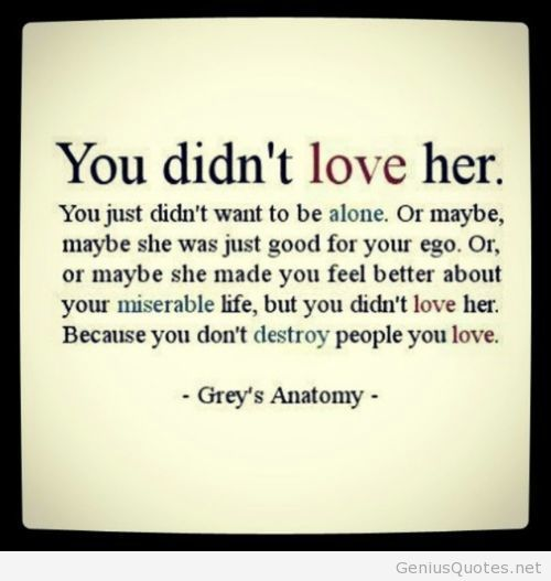 Exactly! You just didn't want to be alone. Thank you Grey' s Anatomy for teaching me so many things about love.