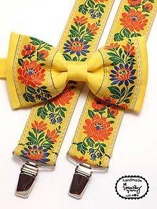 Doplnky - Folkový set traky a motýlik Tajovský - 6025114_