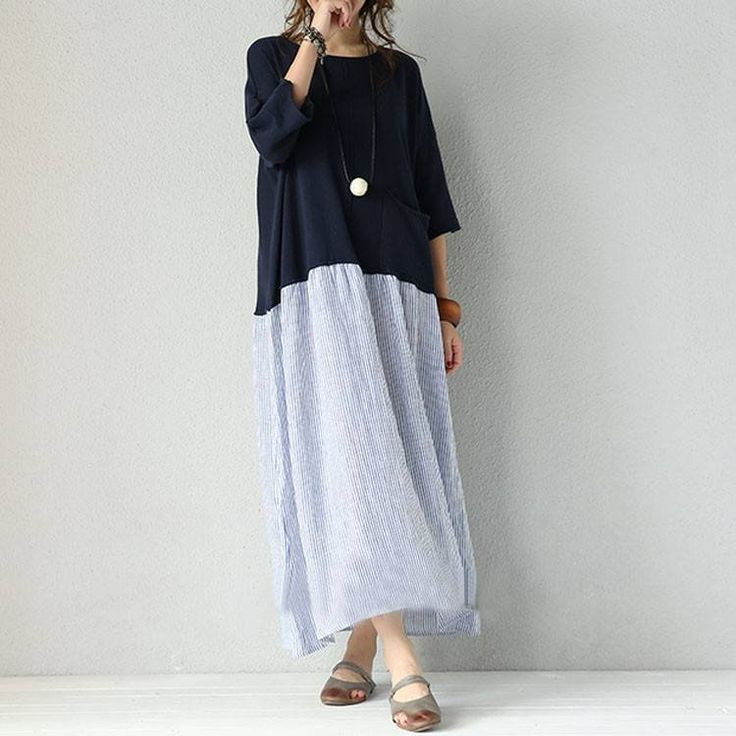 Dress - Women Mixed Color Stripe Stitching Loose Pullover Cotton Linen Dress